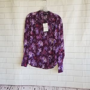 Who What Wear NWT S Floral Top Button Down